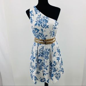 Jessica Simpson Blue Pixilated Toile One Shoulder